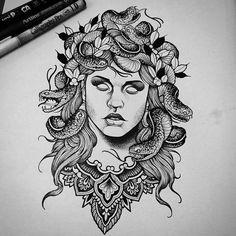 """4,205 mentions J'aime, 44 commentaires - T H O M A S   B A T E S (@thomasbatestattoo) sur Instagram: """"Medusa head Taken. Thank you  #tattoo #fineline #etching #blackwork #darkartists #dotwork…"""""""