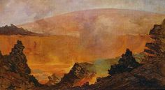 Volcano in Hawaii by JULES TAVERNIER - 1800s
