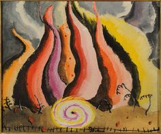 ARTHUR DOVE, Fire in the Sauerkraut Factory, 1936-41, Oil on linen, 10 x 12 inches, University of Mississippi and Historic Houses, (c)The Estate of Arthur G. Dove