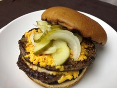 Our Monday night special - pimento cheese burgers.