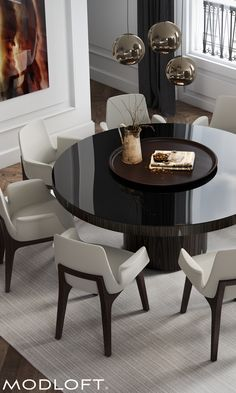 "The 71"" Berkeley dining table by Modloft represents clean, incisive design. Shown with Modloft Mercer dining armchairs. Discover a better contemporary lifestyle at modloft.com."