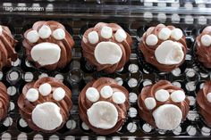 Paw Patrol Party on a Budget - Paw Print Cupcakes | LagunaLane.com