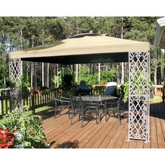 This is what we have in our backyard: Sams Club JRA Furniture 12 x 12 Gazebo Replacement Canopy