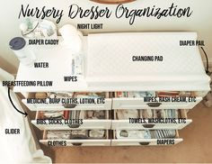 Baby Nursery Dresser Organization - Momma McGovern How Fit Is Your Kid I read an article the other d Baby Nursery Diy, Baby Boy Nurseries, Small Nurseries, Newborn Nursery, Baby Nursery Ideas For Girl, Nursery Room Ideas, Baby Girl Nursey, Nursery Set Up, Girl Nursery Colors