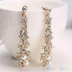 Brincos Elegante Chic feminino. Pérola strass brincos Chandelier jóias 2K4U