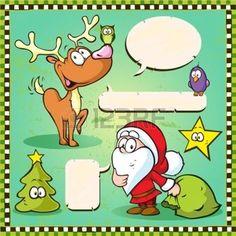Rentier, Eule und Santa isoliert mit Sprechblase auf Vintage-Frame-Hintergrund Illustration