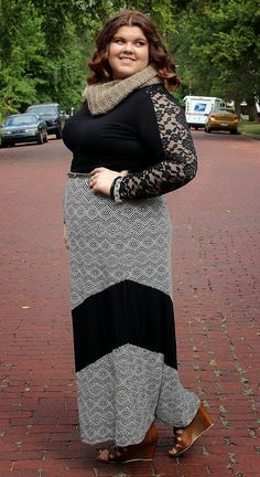 Plus size maxi skirt black and white with chevron detail. This soft and comfortable plus size maxi skirt with very stretchy waistband is very flattering and slimming, perfect for a curvy lady's silhouette. The black and white print with solid black chevron detail is unique, yet versatile.