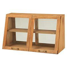 台所 カウンター 収納 木製 キッチン カウンター上ガラスケース MUD-6068NA ナチュラル