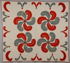 "East Tennessee applique quilt, Princess Feather pattern, Initialed ""A. A. F."". 76 1/2"" X 84"". Late 19th c,~♥~"