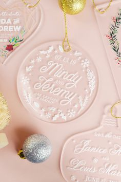 A unique save the date idea for the holiday season! These clear acrylic Christmas ornaments can be sent to all of your wedding guests as a beautiful, custom save the date. Choose from design templates and shapes or upload your own design for a creative DIY. Shop at: cardsandpockets.com/printed-acrylic-shapes.aspx {Sponsored}
