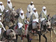 The Kano Durbar is a fantastic festival and procession held regularly in Kano, Nigeria. Featured in the processions are thousands of horsemen in antique ceremonial gear - the horses wearing ornate bridles and saddles; the men in billowing colorful robes and turbans.