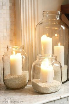 Vintage Jar Hurricanes - Such a pretty and easy to make display! Perfect for a mantel or on the patio.