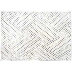 Cream and sky blue flat weave cotton rug featuring geometric design by LULU DK.