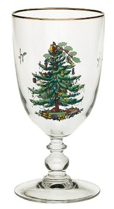 $33.99-$50.00 Spode Christmas Tree 16-Ounce Pedestal Goblets with Gold Rims, Set of 4 - Since its introduction in 1938, Spode's Christmas Tree has been the most well known and widely collected holiday dinnerware pattern.  Many cherished memories of holiday gatherings are focused around a meal or buffet table.  Spode's Christmas Tree Set of 4 Pedestal Goblets 16 ounce is a charming addition to th ...