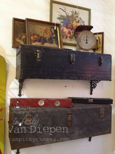 Girl Time, & Fun Love these old tool boxes as shelves. Found at Adjectives Market in Orlando Florida.Love these old tool boxes as shelves. Found at Adjectives Market in Orlando Florida. Repurposed Items, Repurposed Furniture, Diy Furniture, Furniture Plans, Vintage Tools, Vintage Decor, Rustic Decor, Rustic Crafts, Primitive Decor