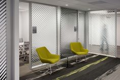 Office window graphics lines for privacy and manifestation Corporate Interiors, Corporate Design, Office Interiors, Corporate Offices, Office Graphics, Window Graphics, Commercial Design, Commercial Interiors, Glass Wall Design