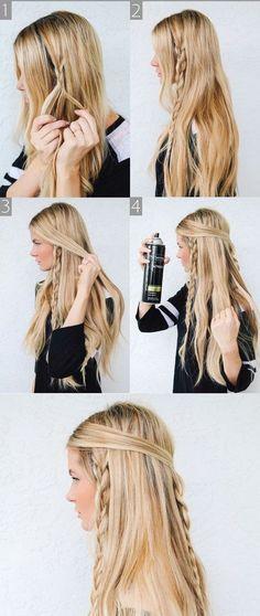 Hippie Braids - Barefoot Blonde 〰love brayding my hair Messy Braided Hairstyles, Braided Hairstyles Tutorials, Pretty Hairstyles, Hairstyle Ideas, Easy Hairstyles, Bohemian Hairstyles, Braided Updo, Wedding Hairstyles, Everyday Hairstyles