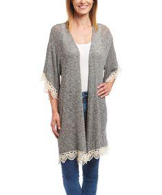 Love this Heather Gray Crochet-Trim Duster on #zulily! #zulilyfinds