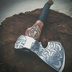 The Viking axe must be among few symbols that can honor the long gone tradition of the Vikings. Because of the close connection with the Vikings, the Viking axe carries within itself the Viking traditional culture. Celtic, Battle Axe, Viking Battle, Viking Axe, Medieval Weapons, Viking Tattoos, Fantasy Weapons, Viking Jewelry, Knives And Swords