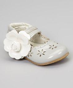Look at this #zulilyfind! Gray Patent Cutout Flower Mary Jane #zulilyfinds