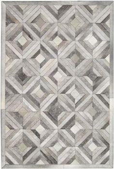 Madisons Gray Parquet Pattern Patchwork Cowhide Rug - PoshRug