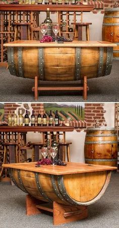 Wine Barrel Coffee Table perfect for a wine room. Wine Barrel Coffee Table, Diy Coffee Table, Wine Barrel Bar, Wine Barrel Furniture, Outdoor Furniture, Home Projects, Sweet Home, House Design, Home Decor