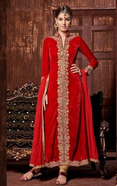 Vivacious Red Color Stylish Churidar Kameez