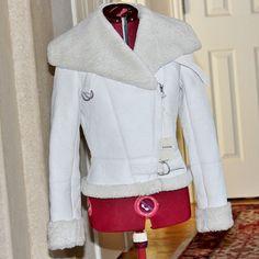 NWT Fossil Charlotte Aviator White Lambskin Lined Jacket Sz Small! http://r.ebay.com/4DGQmc #fossil #fossiljacket #whitejacket #whiteleather #whiteleatherjacket #jacket #lambskin