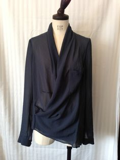 HELMUT LANG Lyra pocket drape shirt Asymmetry blouse