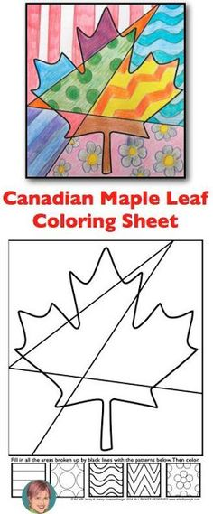 Canadian Maple Leaf Interactive Coloring Sheet FREEBIE Free Interactive Coloring sheet for my Canadian Friends! I'm thinking you could fill it with Canadian symbols or even words. Art Lessons, Leaf Coloring, Coloring Sheets, Pop Art Coloring Page, Canadian Symbols, Autumn Art