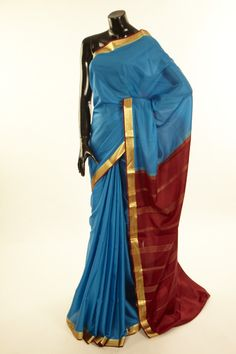 Mysore Crepe- crepe dark sapphire aqua blue saree with blouse