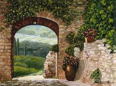 paintings of yuscany stairs - Google Search