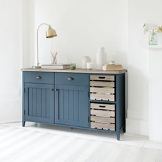 CIDRE SIDEBOARD IN INKY BLUE £645 inky blue, sideboard, cidre, wooden sideboard, wood sideboard, crate, rustic, country look, country feel, country furniture, rustic furniture, wooden furniture, cabinets, cabinetry, kitchen unit, kitchen cabinet, kitchen console, kitchen storage, drawers, blue, deep blue, hallway unit, hallway console, storage, dining room,