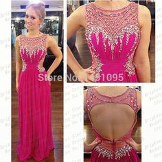 Find More Prom Dresses Information about New Arrival O Neck Beaded With Rhinestones A Line See Through Chiffon Open Back Evening Party Gowns Fuchsia prom dresses 2015,High Quality beads howlite,China beaded chiffon cocktail dress Suppliers, Cheap bead pearl from Brightest Star Wedding Dresses on Aliexpress.com