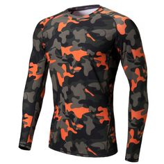 Camo men running t-shirt long sleeve compression shirts basketball gym tights male sport t shirts bodybuilding under base layers