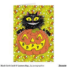 Black Cat & Jack O' Lantern Happy Halloween Green Card