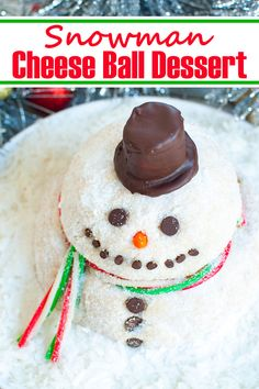 An adorable sweet cheese ball perfect as a Christmas dessert. This Snowman Cheese Ball dessert is fun, festive and easy to make and will be a hit at your holiday potluck or winter gathering. Make ahead recipe. Serve with cookies or graham crackers. #desserts #dips #holidays #christmas #winter #smowman #snack #cheeseball #sweets Christmas Desserts Easy, Winter Desserts, Christmas Cocktails, Christmas Baking, Dessert Cheese Ball, Dessert Dips, Dessert Recipes, Christmas Breakfast, Breakfast For Kids