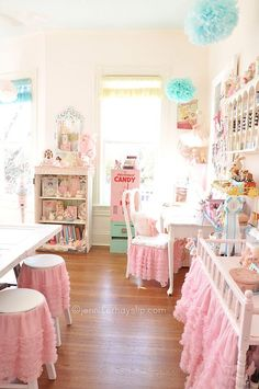 LOVE the skirted stools, chair, and changing table