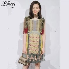 Summer Dress 2016 Retro Palace High-end Lace Dress Flare Sleeve Multi-mixed Color Party Dress Lace Patchwork Women Dress