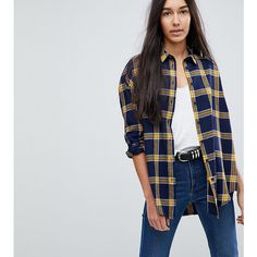 ASOS TALL Oversized Shirt in Navy / Yellow Check ($41) ❤ liked on Polyvore featuring tops, multi, asos, checkered top, square shirt, asos tops and navy blue shirt