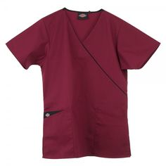 Dickies Mock Wrap Scrub Top in  Wine. This generous fit Dickies Mock Wrap Scrub Top is super comfy and stylish. There is an adjustable tie at the back for extra comfort and two practical pockets for all your belongings. On the right pocket there is the Dickies logo and a beautiful contrast on the inner pocket. There is also a lovely crossover contrast trim at the neckline except on the white Dickies Mock Wrap Tunic. £17  #nursescrubs #dentistuniform #nurses #dentists #redscrubs