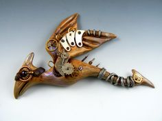 Pterodactyls can be steampunk, too.  Polymer focal bead by Christi Friesen.