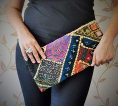 Etnik el çantası/clutch (Vintage kumaşlı kapak)
