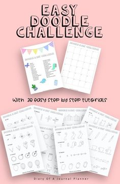30 Day Doodle Challenge With Step By Step Tutorials, Easy Doodle Tutorials, Learn How To Doodle, How to Draw Tutorials, Doodle Prompts Easy Doodles Drawings, Easy Doodle Art, Cool Doodles, You Doodle, Simple Doodles, Doodle Ideas, Doodle For Beginners, Doodle Quotes, Bujo Doodles
