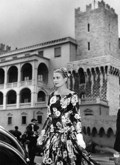 Princess Grace outside the castle in Monaco