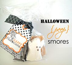 Halloween Peep Smores - change up the peeps and make table gifts for you guests and kids.