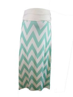 Chevron Skirt in Mint by Casa Lee - Maternity Clothing - Flybelly Maternity Clothing