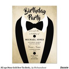 All age Mens Gold Bow Tie Birthday Party Invite All age Mens Gold Bow Tie Birthday Party Invite    Perfect for mens Retirement Party or bachelor parties or bucks parties.    Send us a message for any matching items you wish. Custom birthday party invitations / invites #invitations #invites #birthdayparty