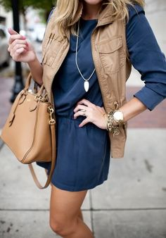 Navy Romper and Cognac Utility Vest with Tory Burch