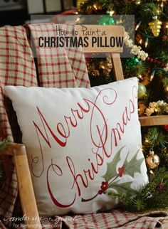 Lettering :: Learn how to paint a Christmas pillow in just a few steps. Tutorial from Anderson and Grant